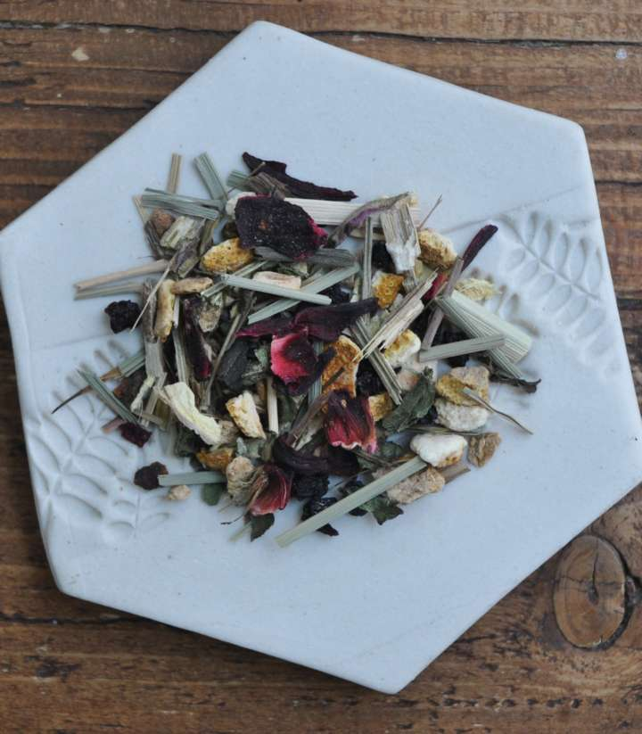 Assorted tea ingredients on a plate